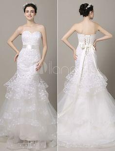 Schulterfreies Hochzeit Kleid Polka Dots gestuften Sweetheart Kapellchen Zug Mermaid Brautkleid mit Multifunktionsleiste Schärpe
