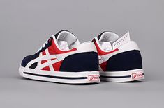 Men's/Woman's Asics Aaron Low Shoes Navy/White/Red