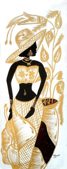 Haitian Woman in Gold & White, Canvas Art of Haiti - Haitian Painting… African American Art, African Women, African Art, Black Women Art, Black Art, White Canvas Art, Woman In Gold, Haitian Art, Caribbean Art