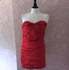 Express Red Bodycon Silk Dress Strapless Sweetheart Neck Ruched Womens Small 0 #Express #StretchBodycon #Cocktail