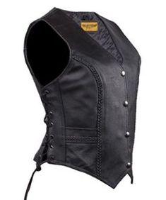 Black, XXX-Large Milwaukee Womens Zipper Vest with Stitch Detailing