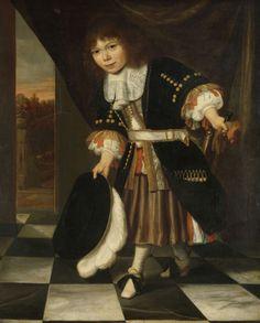 François Verwilt   Portrait of a Boy, called The Young Son of Admiral van Nes (The Admiral's Son), François Verwilt, 1669   Portret van een jongen, bekend onder de titel 'Het zoontje van admiraal van Nes'. Staande jongen, ten voeten uit, die met hoed in de rechterhand en handschoenen en stok in de linkerhand een buiging maakt.