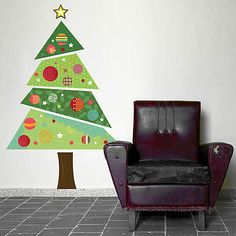 Fabric Christmas Tree Wall Sticker or wrapping paper, on a card @Jenn L Heninger