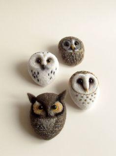 Horned Owl Hand Felted Bird Forest Animal Brown by ShishLOOKdesign