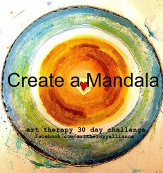 Art Therapy 30 Day Challenge- Day 5: Make a mandala with your favorite art materials, take a photo of it, and share your image on Instagram or Twitter using the hashtag #arttherapychallenge.  Here on Pinterest, feel free to share a mandala related prompt that you find helpful in your art therapy work!