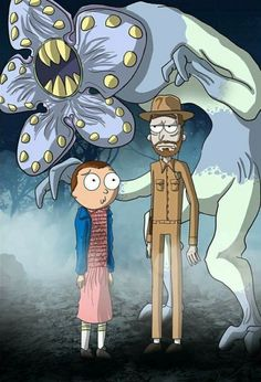 Tagged with eleven, rickandmorty, stranger things, jimhopper, demigorgon; A different Rick and Morty picture every day until someone from an alternate universe stops me Cartoon Cartoon, Cartoon Characters, Rick Und Morty Tattoo, Rick And Morty Crossover, Rick And Morty Drawing, Rick And Morty Stickers, Rick I Morty, Rick And Morty Poster, Ricky And Morty