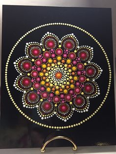 Hand Painted Mandala on an Artist Panel, Meditation Mandala, Healing, Calming, #478 by MafaStones on Etsy