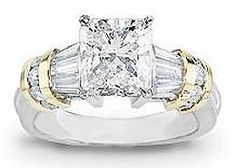 two tone white and yellow gold engagement ring, radiant cut center, baguettes and channel set rounds