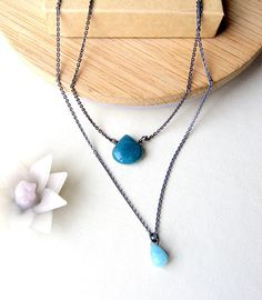 Teal. Sterling silver. Necklace.