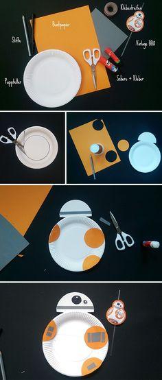 Aus Papptellern lässt sich ganz wunderbar der Droide BB8 basteln.