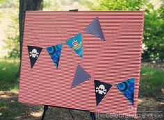 photo backdrop pirate party banner - print & decorate your party with our skull, ship and 2 pattern banner pennants; (you'll receive a template via e-mail within 24 hours of purchase, complete with instructions)