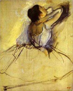 Dancer - Edgar Degas Completion Date: 1874 Style: Impressionism Genre: genre painting Gallery: Hermitage, St. Petersburg, Russia