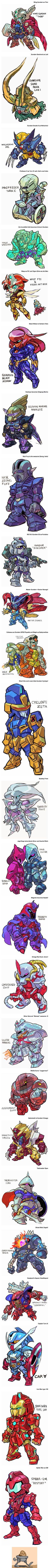 What if Gundam turns into Marvel Superheroes