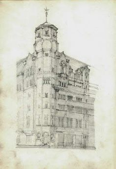 Glasgow Herald Building, one of the architectural sketches in a sketchbook done during a tour of Italy by architect Charles Mackintosh, containing careful pencil studies of exteriors, and a few interiors, capitals and floor plans. Architect Sketchbook, Artist Sketchbook, Observational Drawing, Charles Rennie Mackintosh, Glasgow School Of Art, Landscape Drawings, Urban Sketchers, House Painting, Art And Architecture