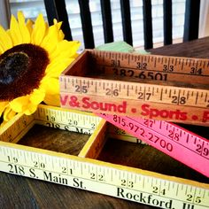 Yardstick boxes Vintage rulers crafted into boxes with rustic wood Desk and craft organizers or a teacher's gift! Sewing notion boxes (20.00 USD) by CarriageOnCherry