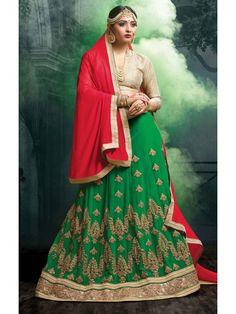 Mesmerizing Green, Cream and Red  Brocade Online Designer Lehenga  Choli