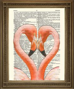 FLAMINGO HEART PRINT: Romantic Pink African Bird by ThePrintArcade