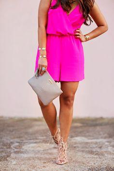 pink romper, women's fashion, @giginewyork, handbag, romper, lace up heels