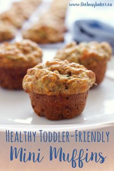 These Healthy Toddler Friendly Mini Muffins are a great snack for kids, sweetened only with fruit and full of vegetables and whole grains! thebusybaker.ca