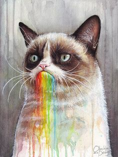 Grumpy Cat Hates Rainbows! » Grumpy Cat Tastes the Rainbow » by Olechka from Seattle, WA via @Pussies on Parade