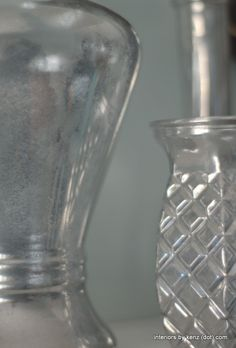 "Turn thrift store vases into chic Mercury Glass vases with Krylon ""Looking Glass"" spray paint Looking Glass Spray Paint, Krylon Looking Glass, Spray Painting Glass, Cut Glass, Glass Vase, Bottle Cutting, Diy Cutting Board, Glass Containers, Mercury Glass"
