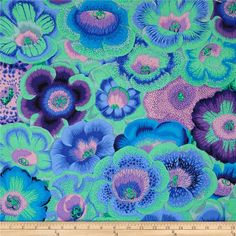 Kaffe Fassett Spring 2014 Collective Meadow Gloxinia's Blue from @fabricdotcom  Designed by Philip Jacobs for Westminster Fabrics, this cotton print is perfect for quilting, apparel and home decor accents. Colors include lavender, jade, pink and  blue.