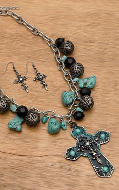 Wear N.E. Wear® Black, Turquoise and Silver Cross Charm Necklace Jewelry Set