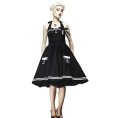 Hell Bunny Motley 50's Sailor Dress BLACK