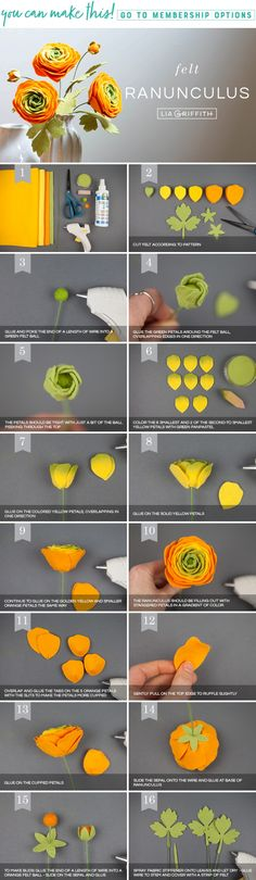 DIY Felt Ranunculus Flowers - Lia Griffith. While we love the Ranunculus paper flowers we've made we thought we'd try making them in felt too, which turned out beautiful! Learn how to make this project by following our simple step-by-step tutorial! These flowers would be great in a wedding bouquet, on a wreath or just as a centerpiece on your dinner table! #DIY #easy #felt #wool #flower #flowers #beautiful #fall #autumn #madewithlia
