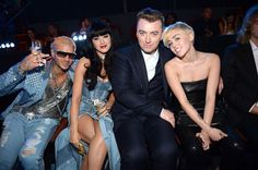 Riff Raff, Katy Perry, Sam Smith and Miley Cyrus attend the 2014 MTV Video Music Awards at The Forum