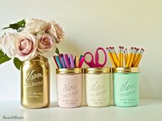 Dorm Decor Pink Mint Gold Cream Painted mason jar by BeachBlues