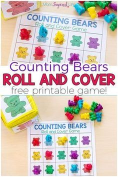 Your kids will love this fun counting bears math game! There are several ways to play and a variety of math skills you can develop with this free printable math game. #math #mathcenters #kindergarten #preschool #mathgames #numbersense