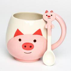 Pig Round Mug & Spoon Set