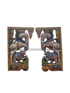 Multicolored Wooden Pair Of Yali Wall Brackets Its an tradational type lion (simmam) as you can this types in hindu god temples as the pillars in the temples have this type simmam in top end of the pillars.This wood wall bracket is made by artist in th Door Brackets, Wooden Brackets, Wood Carving Art, Wood Carvings, Wood Crown Molding, Wooden Elephant, Indian Art Paintings, Dark Wax, Wooden Walls