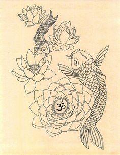 aum lotus fish tattoo