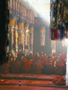 Monks Inside the Main Prayer Hall, Drepung Buddhist Monastery, Lhasa, Tibet,