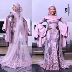 Beautiful Hausa Brides In Stunning Bridal Gowns - Wedding Digest Naija Muslim Wedding Gown, Wedding Gowns, African Lace Dresses, African Fashion Dresses, African Traditional Wedding, Muslim Brides, Africa Fashion, Ankara Styles, Bridal Gowns