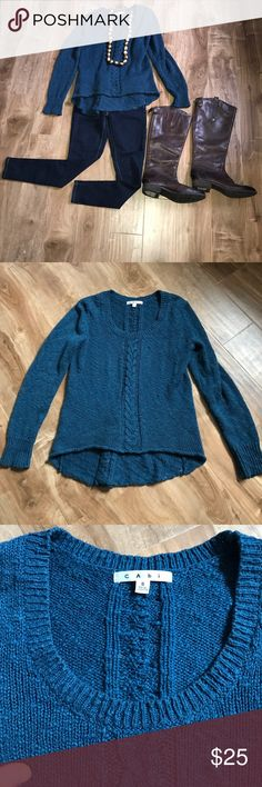 Blue Knit CAbi Sweater! Adorable cable knit blue sweater! Perfect staple item for this time of winter as we're close to transitioning to spring! Brand is CAbi- Size small! CAbi Sweaters