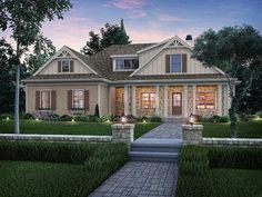 Lattice columns and decorative trusses create charming, unique curb appeal for this home. Inside, the layout is surprisingly modern with outstanding flow between the family room, kitchen, and dining room. The master suite offers access to the back porch a