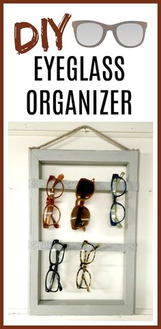This is the best organizer I own! An easy DIY that keeps all my eyeglasses in a safe place. Homeroad.net #repurposed #diyproject #eyeglasses #organization #storage