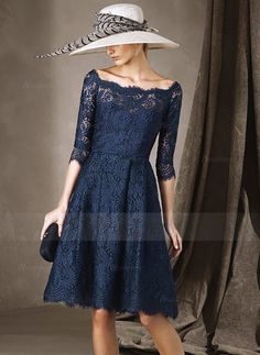 A-Line/Princess Scoop Neck Knee-Length Ruffle Lace Lace Zipper Up Sleeves 1/2 Sleeves No Dark Navy Spring Fall Winter General Mother of the Bride Dress