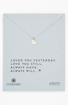 Free shipping and returns on Dogeared 'Love - Sparkle Heart' Boxed Pendant Necklace at Nordstrom.com. A facet-textured heart pendant hand-cast in sterling silver dangles from a dainty chain necklace.