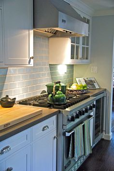 White Kitchen,Shaker Style Cabinets, Pale Blue Ann Sacks Tile Backsplash,  Lagos Azul