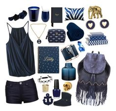 """""""Navy & Gold Living"""" by sweetesthome on Polyvore featuring Brooks Brothers, OPI, Liquorish, Mudd, Mapleton Drive, Eternally Haute, Fornash, Bloomingville, Sunnylife and Tory Burch"""