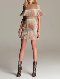 Stretch-Crêpe Fringe Mini Dress in Light Brown - Sleeve Style: Regular Pattern Type: Solid Material: Polyester Our Style No. Cocktail Dresses With Sleeves, V Neck Cocktail Dress, Gold Cocktail Dress, Dusty Pink Bridesmaid Dresses, Mode Glamour, V Neck Wedding Dress, Dresses Short, Feather Dress, Fringe Dress