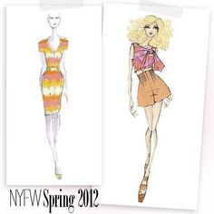 Fabulous Doodles Blog: Sketches from Fashion Week Spring 2012 by Lela Rose and Nanette Lepore