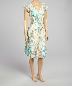 This Cream & Aqua Floral Angel-Sleeve Dress by Rabbit Rabbit Rabbit Designs is perfect! #zulilyfinds