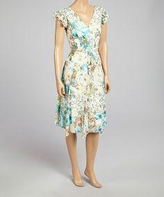 Look what I found on #zulily! Cream & Aqua Floral Angel-Sleeve Dress by Rabbit Rabbit Rabbit Designs #zulilyfinds