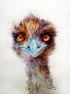 ARTFINDER: Dark Chocolate _Emu by Arti Chauhan - Another Emu ,looking sharp as ever.These soft feathered,flightless Australian birds are distant relatives to the ostrich.I like the alert look in their orange eyes. Australian Animals, Australian Art, Watercolor Bird, Watercolor Animals, Watercolor Artwork, Chicken Art, Aboriginal Art, Whimsical Art, Animal Paintings