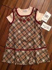 Rare Editions Girls Dress 2 Piece Size 4T Plaid Fall Winter Short Sleeve NWT